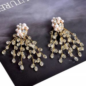 Pearl and Rhinestone beaded branches Earrings